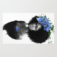 afro Area & Throw Rugs featuring Blossom afro by Masha