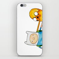 finn and jake iPhone & iPod Skins featuring Finn & Jake by And Other Short Stories