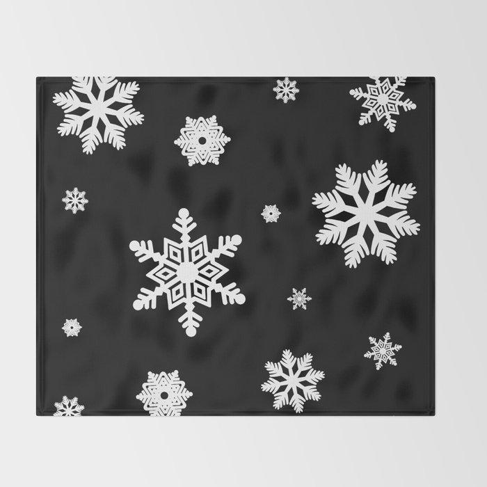 Snowflakes | Black & White Throw Blanket