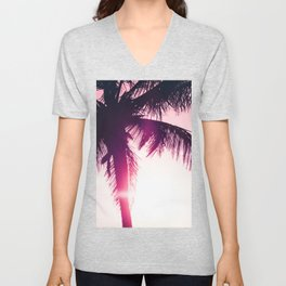 pink palm tree silhouettes kihei tropical nights Unisex V-Neck