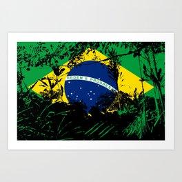 Brazilian Flag Foliage Art Print