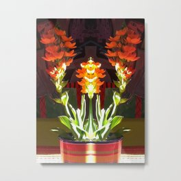 Symmetrical Red Flowers in Striped Pot Metal Print