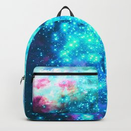 Turquoise Fuchsia Sparkle Stars Backpack