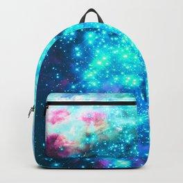 Turquoise Fuchsia Sparkle Stars BRIGHT Backpack