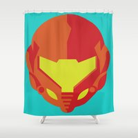 samus Shower Curtains featuring Samus - Metroid by Rey~