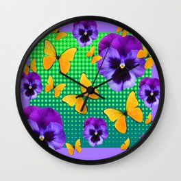 PURPLE PANSIES-BUTTERFLY GREEN OPTIC ART Wall Clock