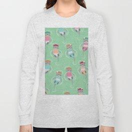 Otters Aqua Green Pattern Long Sleeve T-shirt