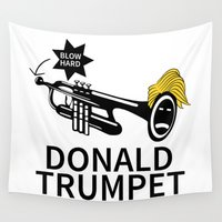trumpet Wall Tapestries featuring Donald Trump Trumpet by pollylitical