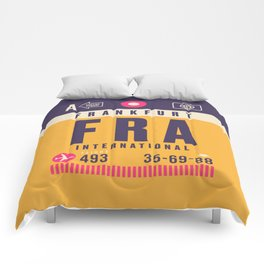 Retro Airline Luggage Tag - FRA Frankfurt Comforters