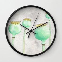 Four Poppy Pods Wall Clock