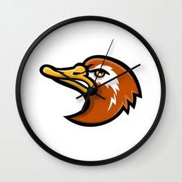 Laysan Duck Head Mascot Wall Clock