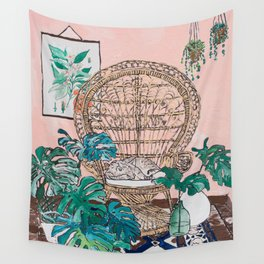 Napping Tabby Cat in Cane Peacock Chair in Tropical Jungle Room Wall Tapestry