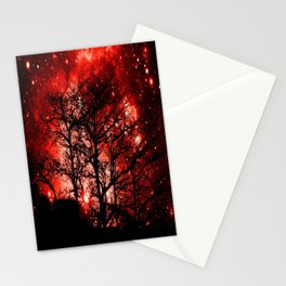 black trees red space Stationery Cards
