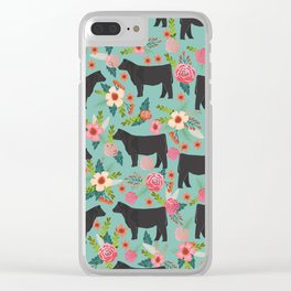 Show Steer cattle breed floral animal cow pattern cows florals farm gifts Clear iPhone Case