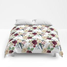Burgundy ivory green watercolor boho floral pattern Comforters