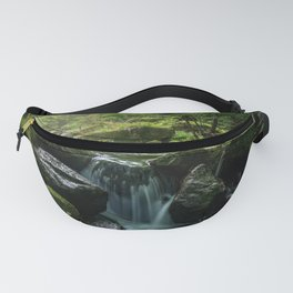 Flowing Creek, Green Mossy Rocks, Forest Nature Photography Fanny Pack