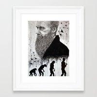 darwin Framed Art Prints featuring DARWIN by _alienboi_