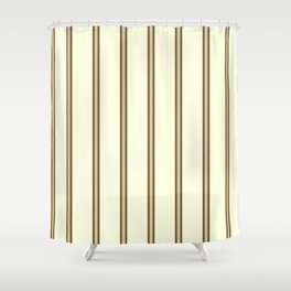 Cream and Brown Stripes Shower Curtain