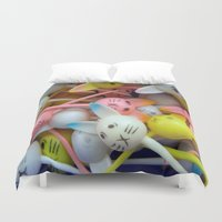 bunnies Duvet Covers featuring Bunnies by molldoll527