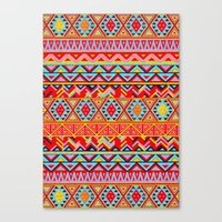 india Canvas Prints featuring India Style Pattern (Multicolor) by Diego Tirigall