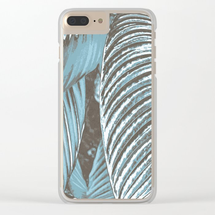 Sea-blue Leaves Clear iPhone Case