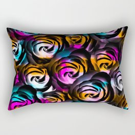 black rose texture abstract with painting abstract in orange pink blue Rectangular Pillow