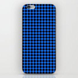 Black and Brandeis Blue Diamonds iPhone Skin