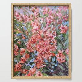 LET LIFE BE PASSIONATE LIKE SUMMER BOUGAINVILLEA-Original floral painting by HSIN LIN Serving Tray