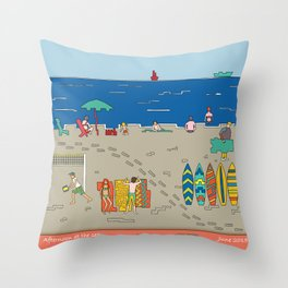 Afternoon at the sea Throw Pillow