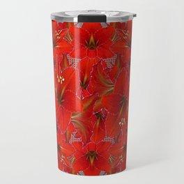 YELLOW COLOR RED AMARYLLIS FLOWER GARDEN  FLOWERS Travel Mug