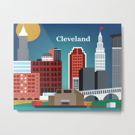 Cleveland, Ohio - Skyline Illustration by Loose Petals Metal Print