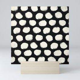 Trendy Cream Polka Dots on Black Mini Art Print