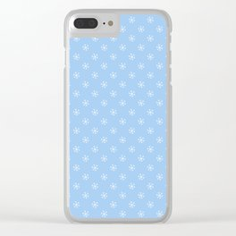 White on Baby Blue Snowflakes Clear iPhone Case