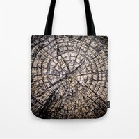 tree rings Tote Bags featuring Tree Rings by Tanya Harrison Photography