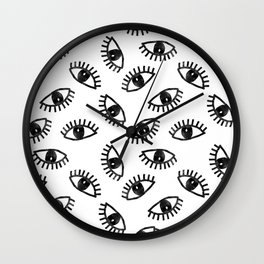 Eyes linocut black and white minimal eyes carving pattern Wall Clock