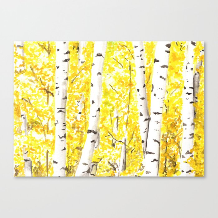 Yellow Aspen Trees Watercolor Art Painting Yellow Birches Wall Hanging Wall Art Canvas Print By Ahockenberry
