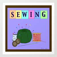 sewing Art Prints featuring Sewing by Grace Isabel