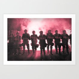 Riot Police Line - Red Cast Art Print