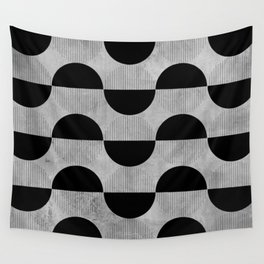 Black abstract 60s circles on concrete - Mix & Match with Simplicty of life Wall Tapestry