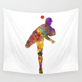 Baseball player throwing a ball Wall Tapestry