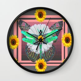 GREEN DRAGONFLY FLORAL UNIVERSE Wall Clock