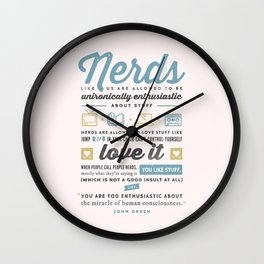 Nerds - John Green Wall Clock