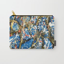 Blue Paint Drip Pollock Stones Carry-All Pouch
