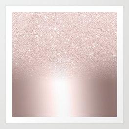 Rose gold glitter ombre metallic gradient Art Print