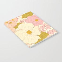 Pink Pastel Vintage Floral Pattern Notebook