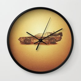 Lost in the Wild Wild West! (Golden Delorean Doubleexposure Art) Wall Clock