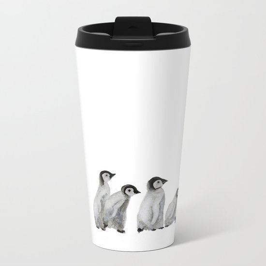 Little penguin says NO I am not going with you Metal Travel Mug