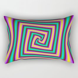 Angular Spiral in Violet Yellow and Turquoise Rectangular Pillow