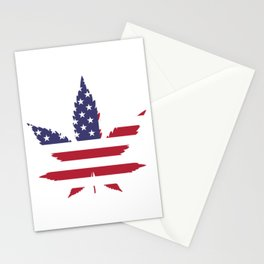 Cannabis in American Flag Stationery Cards