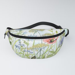 Floral Watercolor Botanical Cottage Garden Flowers Bees Nature Art Fanny Pack